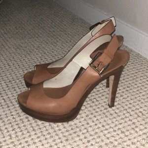 Michael Kors brown leather and wooden heels size 6